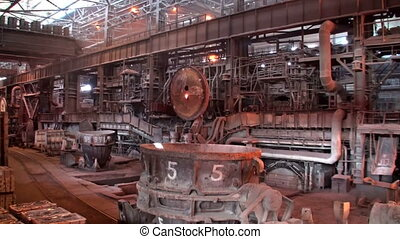 Panorama of the open-hearth workshop of metallurgical plant