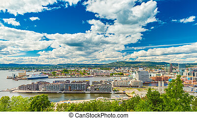 Panorama of Oslo, Norway. Beautiful cityscape of a Scandinavian city on sunny summer day