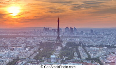 Panorama of Paris at sunset timelapse. Eiffel tower view...