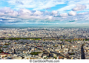 Panorama of Paris from the Montparnasse Tower. France