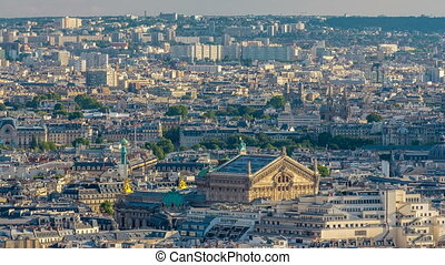 Panorama of Paris timelapse, France. Top view from Sacred Heart Basilica of Montmartre Sacre-Coeur .