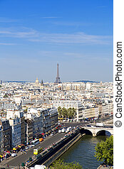 Paris - Panorama of Paris. View from Cathedral Notre Dame de...
