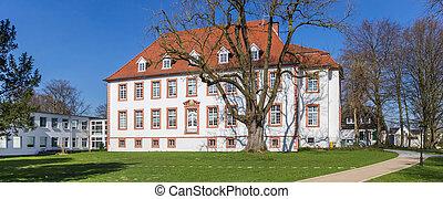 Panorama of park and historic mansion Reckenburg in Wiedenbruck