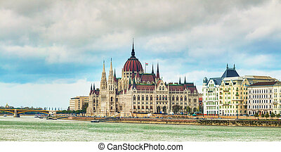 Panorama of Parliament building in Budapest