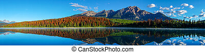 Panorama of Patricia Lake in Jasper National Park with ...