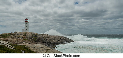Panorama of Peggys Cove's Lighthouse at Storm