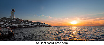 Panorama of Peggys Cove's Lighthouse at Sunset