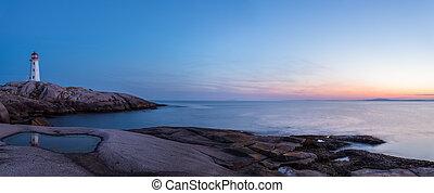 Panorama of Peggys Cove's Lighthouse after Sunset (Nova Scotia,