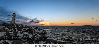 Panorama of Peggys Cove's Lighthouse after Sunset