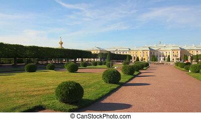 panorama of Petergof upper park in Saint-petersburg Russia