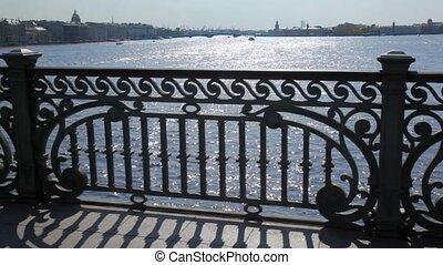 Panorama of Petersburg on Neva River from bridge