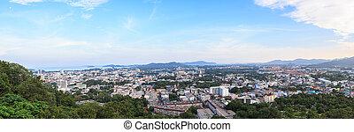 Phuket Town view from Rang Hill - Panorama of Phuket Town ...