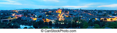 Panorama of Poitiers at night