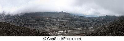panorama of polar high-mountain carrer, mining phosphate ore