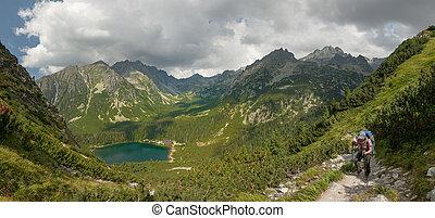 Panorama of Popradske pleso lake valley in High Tatra Mountains, Slovakia, Europe