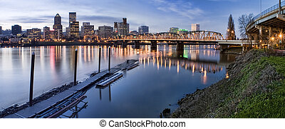 Panorama of Portland Oregon at Night - Portland, Oregon...