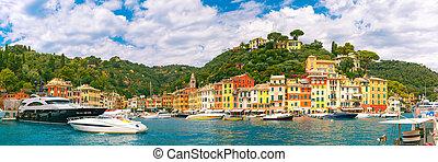 Panorama of Portofino, Italian Riviera, Liguria