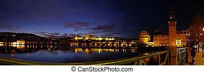 Panorama of Prague in night