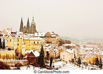 Panorama of Prague in winter