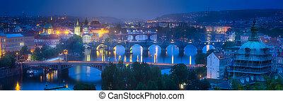 Panorama of Prague with bridges on Vltava river