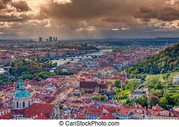 Panorama of Prague with Vltava river and Prague bridges.