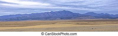 Panorama of purple mountains Eagle Mountain Utah