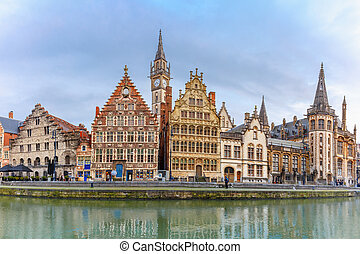 Panorama of Quay Graslei in Ghent town, Belgium -...