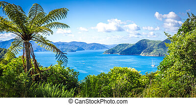 Panorama of Queen Charlotte Sound, New Zealand