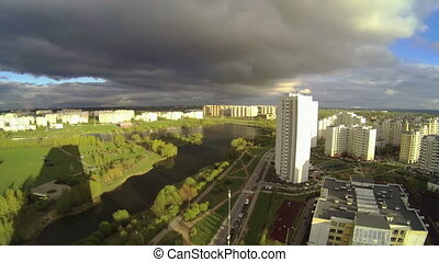 Panorama of residential district in Moscow, Russia. time...