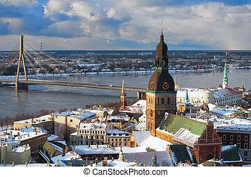 Panorama of Riga Bridge from the air in winter