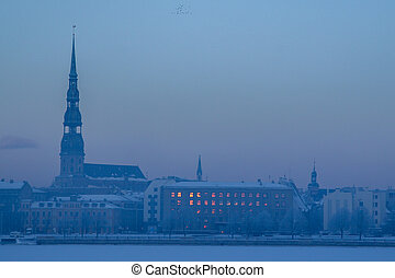 Panorama of Riga in winter time.