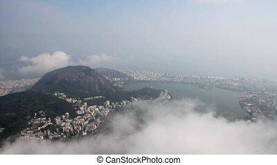 Panorama of Rio de Janeiro with moving clouds