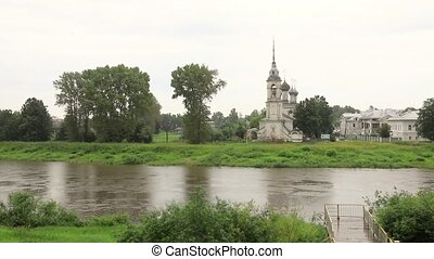panorama of River Vologda and church of the Presentation of...