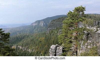 Panorama of Rocks in the Czech Switzerland.