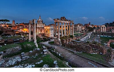 Panorama of Roman Forum (Foro Romano) in the Evening, Rome, Italy
