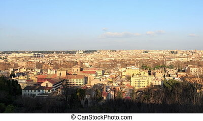 Panorama of Rome at sunset. Italy. Time Lapse