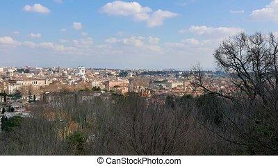 Panorama of Rome. Passeggiata del Gianikolo. Rome, Italy....