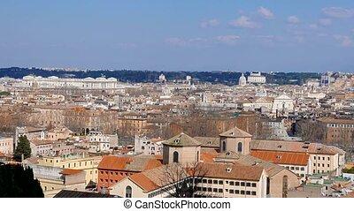 Panorama of Rome. Passeggiata del Gianikolo. Rome, Italy.