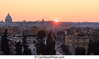 Panorama of Rome, sunset. Time Lapse. Italy
