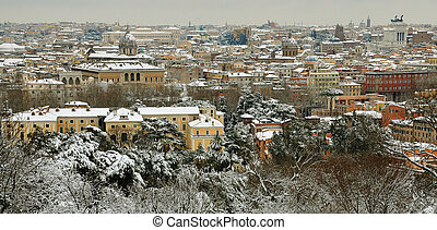 panorama of Rome under snow in winter