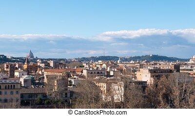 Panorama of Rome, view from the Giardino degli Aranci. Italy. Time Lapse