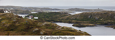 Panorama of Rose Blanche with the lighthouse, Newfoundland. St. John's, Newfoundland and Labrador, Canada.