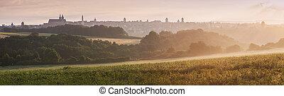 Panorama of Rothenburg at sunrise
