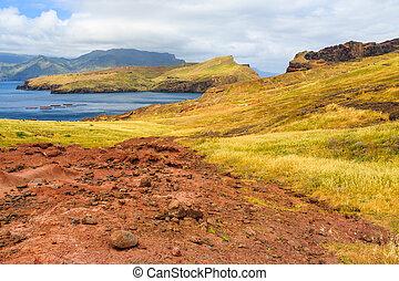 Panorama of rough coastline in Madeira, nature reserve Ponta de Sao Lourenco, peninsula on the east coast