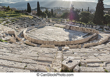 Ruins of theatre of Dionysus in Acropolis of Athens -...