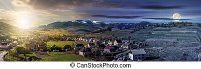 panorama of rural area in mountains - Day and night concept...