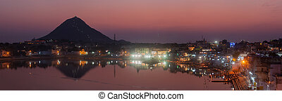 Panorama of Sacred Puskhar lake (Sagar) and ghats of town...