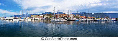 Panorama of Saint-Florent and its leisure port, mountains of...