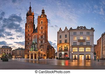 Panorama of Saint Mary Basilica in the Morning, Krakow, Poland