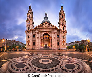 Panorama of Saint Stephen Basilica in the Morning, Budapest, Hungary